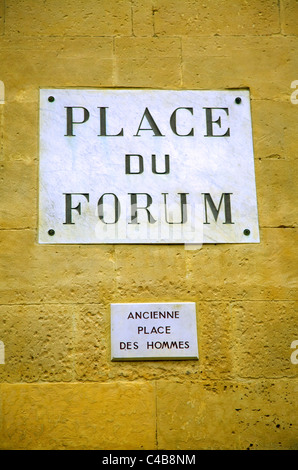 Arles; Bouches du Rhone, France; Sign of the place du Forum where Van Gogh painted his 'Cafe Terrace on the - Stock Image