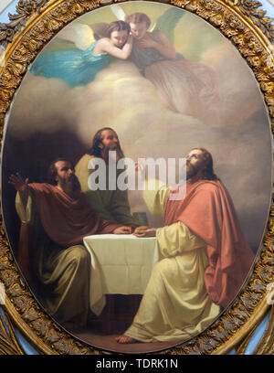 CATANIA, ITALY - APRIL 7, 2018: The painting of Jesu supper with the disciples of Emmaus in church Chiesa di San Placido by Michele Rapisardi (1858). - Stock Image