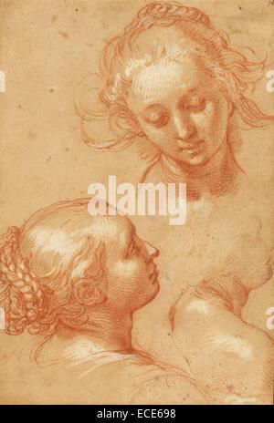 Three Studies of Women; Abraham Bloemaert, Dutch, 1564 - 1651; 1620s; Red chalk heightened with white gouache; 25.1 - Stock Image