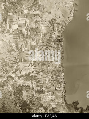 historical aerial photograph of Lakeport,CA, 1957 - Stock Image