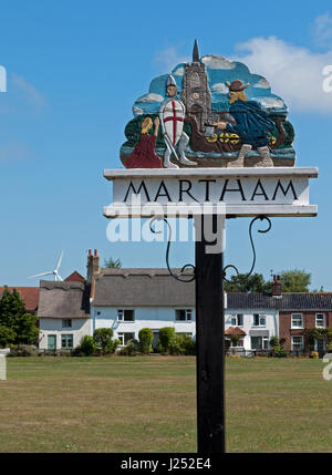 Village Sign and Green in The Village of Martham Nr Great Yarmouth, Norfolk, England, UK - Stock Image