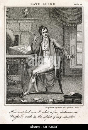 A young man writing a letter wears a loose 3/4 jacket with stand fall collar & no fastenings over his breeches & waistcoat. He wears stockings & slippers on his feet.     Date: 1807 - Stock Image