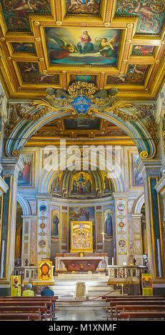 ROME , ITALY- OCTOBER 10, 2017: The Interior of the Basilica of St Bartholomew on Tiber Island - Stock Image
