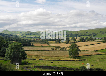 Upper Dovedale on the Staffordshire Derbyshire border in the Peak District National Park. England UK - Stock Image
