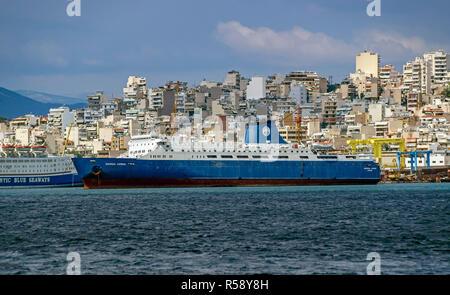 Car and passenger ferry M/F European Express moored in a Perama Shipyard port of Piraeus Athens Greece Europe - Stock Image