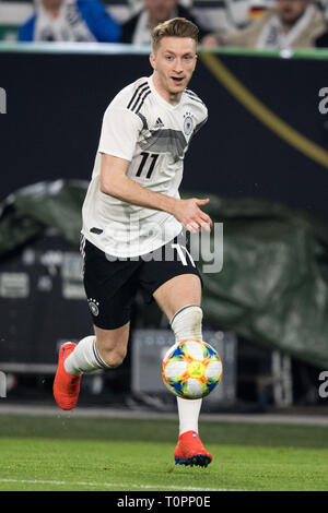 Marco REUS (GER) with Ball, Einzelaktion with Ball, Action, Full figure, upright, Football Laenderpiel, Friendly Match, Germany (GER) - Serbia (SRB) 1: 1, on 20.03.2019 in Wolfsburg/Germany. ¬ | usage worldwide - Stock Image