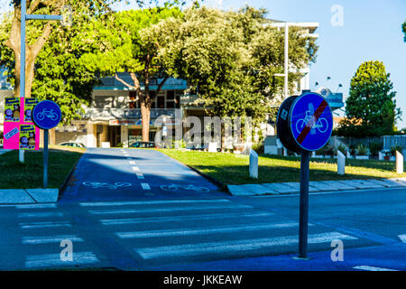 Bicycle path on a roundabout in the centre of Jesolo, Italy. - Stock Image