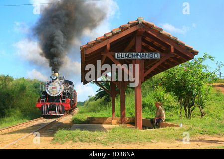 Cuba Valle de los Ingenios Antique steam train at Guachinango near Trinidad Photo CUBA1469 Copyright Christopher - Stock Image