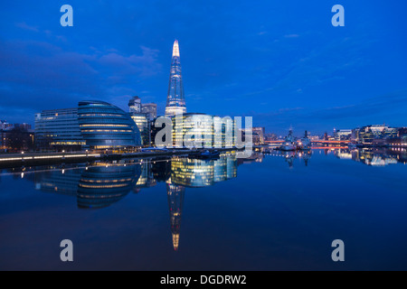 City Hall Shard twilight London England - Stock Image