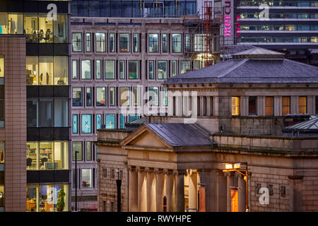 Manchester city centre skyline  view across the rooftops St Peters Square up Mosley Street Manchester Art Gallery - Stock Image