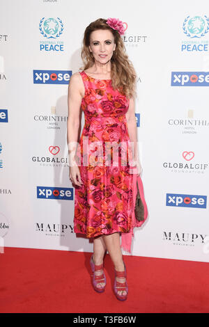London, UK. 08th Apr, 2019. LONDON, UK. April 08, 2019: Emma Samms arriving for the Football for Peace initiative dinner by Global Gift Foundation at the Corinthia Hotel, London. Picture: Steve Vas/Featureflash Credit: Paul Smith/Alamy Live News - Stock Image