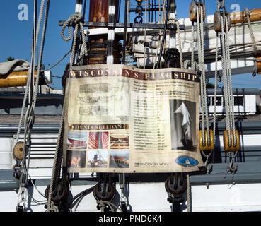Poster, details of S/V Denis Sullivan, Milwaukee, WI Discovery World schooner configuration - Stock Image