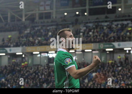 Belfast, UK. 21st Mar 2019. National Football Stadium at Windsor Park, Belfast, Northern Ireland. 21 March 2019. UEFA EURO 2020 Qualifier- Northern Ireland v Estonia. Action from tonight's game. Niall McGinn scored for Northern Ireland.  Credit: David Hunter/Alamy Live News. - Stock Image