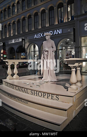 Living Statue at The Strip, Venetian Hotel and Casino at shopping plaza, Las Vegas, Nevada USA - Stock Image