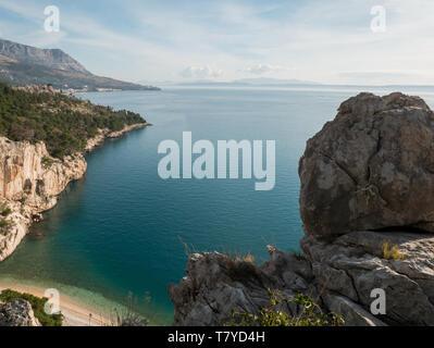 Adriatic sea landscape over hidden famous beach Nugal - Stock Image