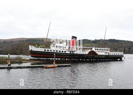 Balloch, Loch Lomond, UK. 10th Jan, 2019. UK. Attemps to remove the Maid of the Loch from Loch Lomond at Balloch today failed when the cradle which supported the ship weight snapped and the ship slipped back into the water. PS Maid of the Loch is the last paddle steamer built in Britain and was being removed for renovation and restoration purposes. Credit: Douglas Carr/Alamy Live News - Stock Image