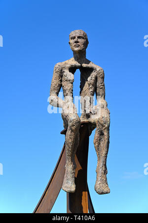 'Ship' (detail), metal sculpture by Anna Gillespie, 2019. Half Moon Bay, Heysham, Lancashire, England, United Kingdom, Europe. - Stock Image