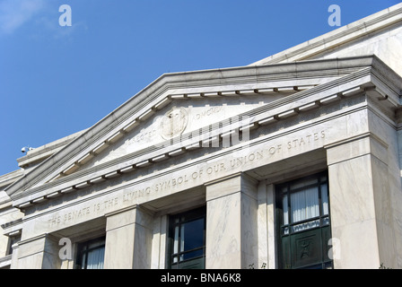 Dirksen senate office building in Washington DC with the inscription 'The Senate is the living symbol of our - Stock Image