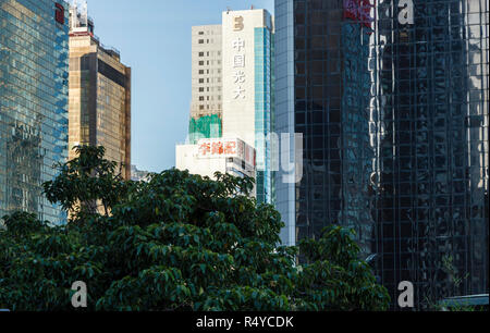 Buildings in the Wan Chai district of Hong Kong Island - Stock Image