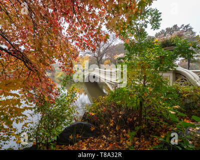 Autumn at the Bow bridge in Central Park, New York City - Stock Image