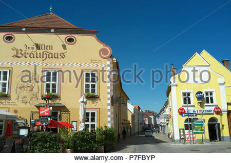 City centre scene in Neunkirchen in the Austrian state of Lower Austria. - Stock Image