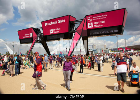 Stratford Gate on a sunny day at Olympic Park, London 2012 Olympic Games site, Stratford London E20 UK, - Stock Image