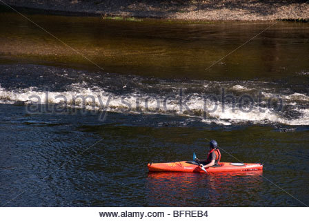 Canoeist on River Ness Inverness Scotland - Stock Image