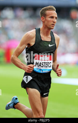 Riley MASTERS (United States of America) competing in the Men's 5000m Final at the 2018, IAAF Diamond League, Anniversary Games, Queen Elizabeth Olympic Park, Stratford, London, UK. - Stock Image