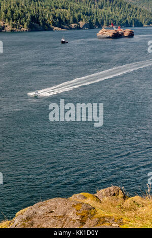 Speeedboat passing ITB Beaufort Sea, non propelled barge, loaded with timber, in Seymour Narrows at Discovery Passage, - Stock Image