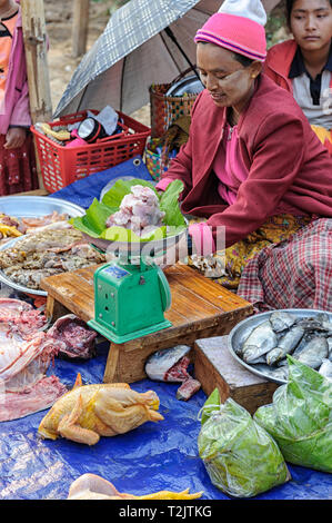 Chicken and fish vendor at the Phaung Daw OO market at the Inle Lake in the Shan State in the east of Myanmar in Southeast Asia. - Stock Image