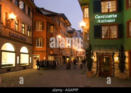 Switzerland Zurich Augustinergasse old city center christmas illumination - Stock Image