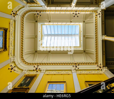 Skylight on the roof above a staircase in an ornate building. - Stock Image