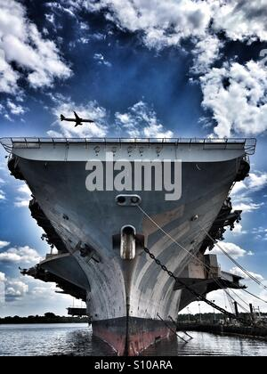 Aircraft Carrier and Airplane, Navy Yard, Philadelphia, Pennsylvania - Stock Image