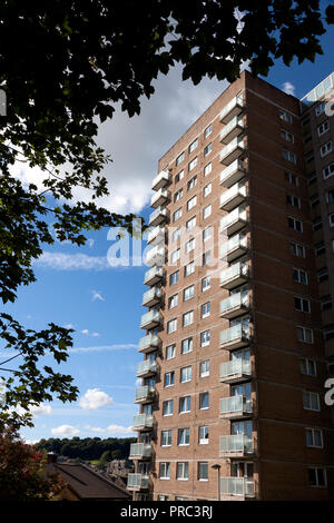 High-rise block of flats, Sowerby Bridge, West Yorkshire - Stock Image