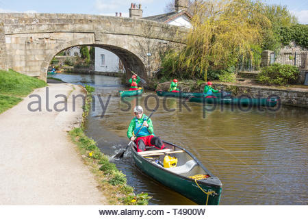 Canoeists on the Lancaster Canal at Hest Bank, Lancashire, England, UK. - Stock Image