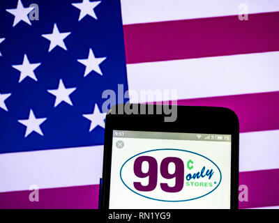 Ukraine. 16th Feb, 2019. 99 Cents Only Stores company logo seen displayed on a smart phone. Credit: Igor Golovniov/SOPA Images/ZUMA Wire/Alamy Live News - Stock Image