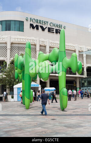 The Perth Cactus, a sculpture by local artist, James Angus, stands at one of the entrances to the Forrest Chase - Stock Image