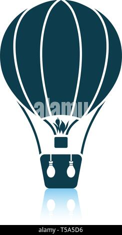 Hot air balloon icon. Shadow reflection design. Vector illustration. - Stock Image