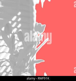 Ripped paper abstract design of tulips with on trend gray grey and living coral Pantone color of the year spring Easter Mothers Day background - Stock Image