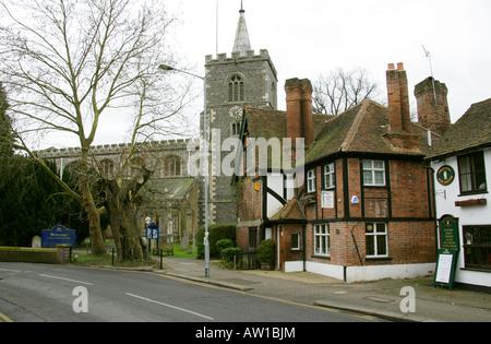 Saint Mary's Church, High Street, Rickmansworth, Church of England and Methodist Shared Church and the Osteopath - Stock Image