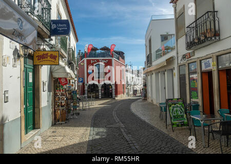 Lagos In The Algarve Southern Portugal Old Town Pedestrian Street With Bars And Restaurants - Stock Image
