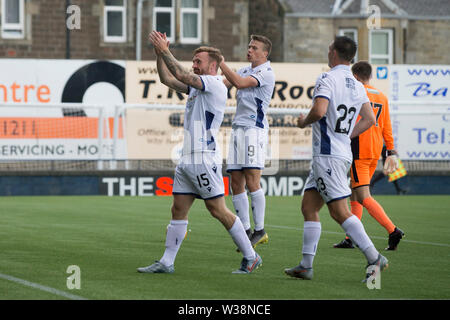 Starks Park, Kirkcaldy, UK. 13th July, 2019. Scottish League Cup football, Raith Rovers versus Dundee; Craig Curran of Dundee celebrating scoring for 3-0 in the 75th minute Credit: Action Plus Sports/Alamy Live News - Stock Image