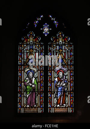 Stained glass window depicting the Apostles Bartholomew and Philip, All Saint's Church, Beighton, Norfolk - Stock Image