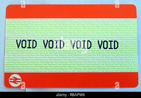 Void British Rail Ticket - Stock Image