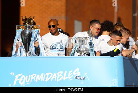 Manchester City's Vincent Kompany (left) and de Moraes Ederson (right) during the trophy parade in Manchester. - Stock Image