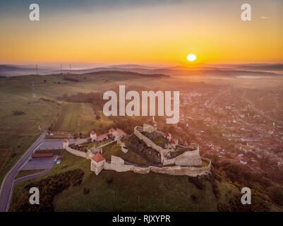 Romania traditional landscape at sunrise at Rupea Fortress in Transylvania,  between Brasov and Sighisoara - Stock Image
