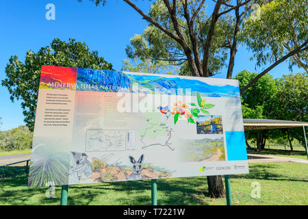 Information sign about Minerva Hill National Park, Queensland, QLD, Australia - Stock Image