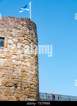 Dirleton Castle, East Lothian, Scotland, United Kingdom, 22nd April 20-19. UK Weather: a very warm sunny day with clear blue sky at the ruined castle tower - Stock Image