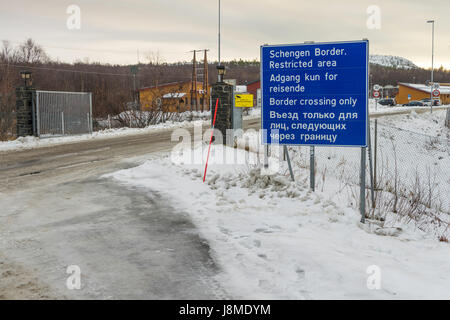 The border between Norway and Russia near Kirkenes, Finnmark County, Norway - Stock Image
