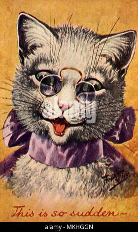 Smiling Cat Wearing Glasses - Stock Image